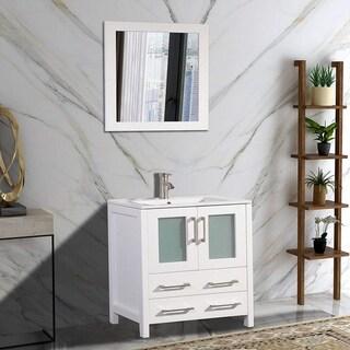 Vanity Art 30-inch Single Sink Bathroom Vanity Set 2 Drawers, 1 Cabinet, 1 Shelf, Soft-Closing Doors with Free Mirror