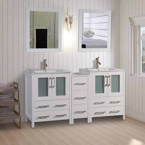 Vanity Art 72-Inch Double Sink Bathroom Vanity Set 7 Drawers, 2 Cabinets, 2 Shelves, Soft-Closing Doors with Free Mirror