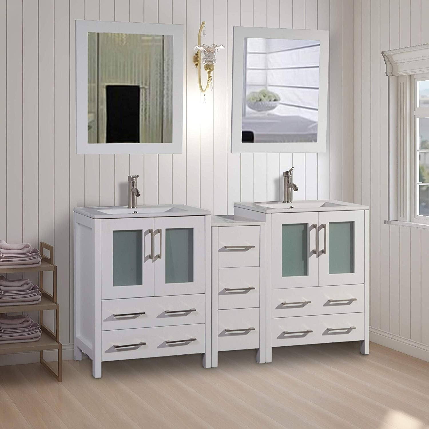 Vanity Art 72 Inch Double Sink Bathroom Vanity Set 7 Drawers 2 Cabinets 2 Shelves Soft Closing Doors With Free Mirror Overstock 12609986