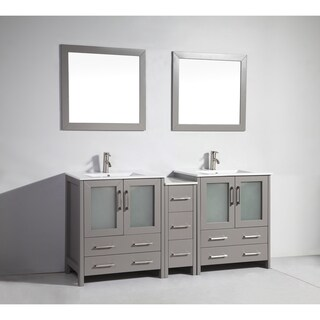 Vanity Art White and Grey Wood 72-inch Double-sink Bathroom Vanity Set with Ceramic Top