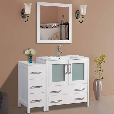 Vanity Art 42-Inch Single Sink Bathroom Vanity Set 5 Drawers, 2 Cabinets, 1 Shelf, Soft-Closing Doors with Free Mirror