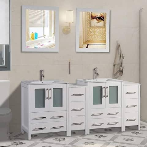 Vanity Art 72-Inch Double Sink Bathroom Vanity Set 10 Drawers, 4 Cabinets, 2 Shelves, Soft-Closing Doors with Free Mirror