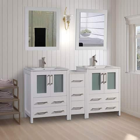 Vanity Art 60-Inch Double Sink Bathroom Vanity Set 7 Drawers, 3 Cabinets, 2 Shelves, Soft-Closing Doors with Free Mirror