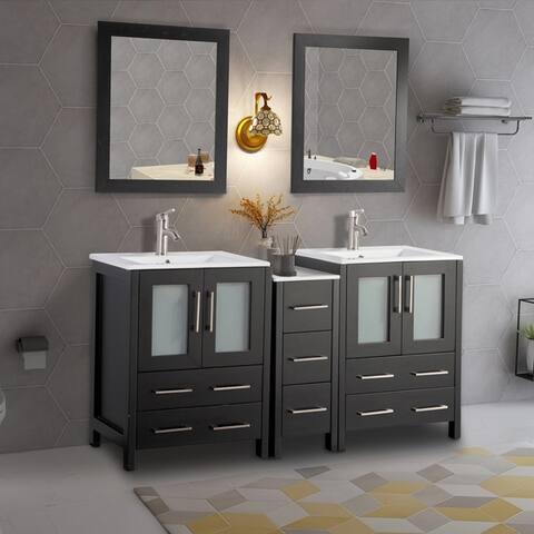 Vanity Art 60-Inch Double Sink Bathroom Vanity Set 7 Drawers, 3 Cabinets, 2 Shelves, Soft-Closing Doors with Free Mirror