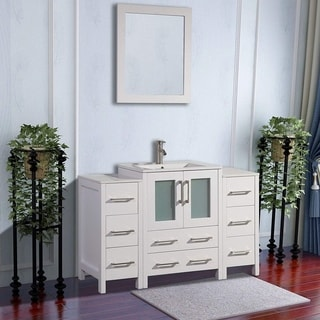 Vanity Art White/Grey Ceramic/Oak 48-inch Single Sink Bathroom Vanity Set