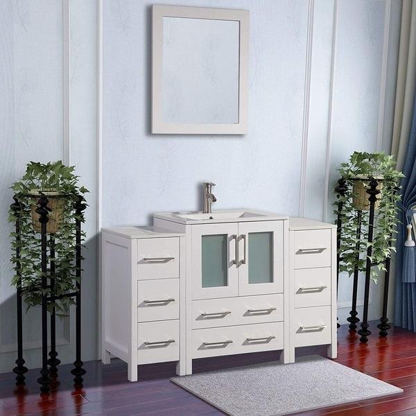 Vanity Art 48-Inch Single Sink Bathroom Vanity Set 8 Drawers, 3 Cabinets, 1 Shelf, Soft-Closing Doors with Free Mirror