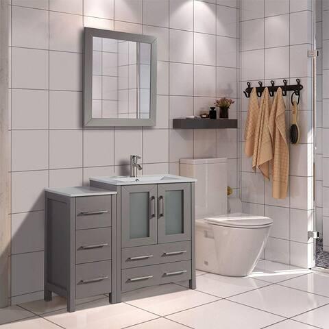 Vanity Art 36-Inch Single Sink Bathroom Vanity Set 5 Drawers, 2 Cabinets, 1 Shelf, Soft-Closing Doors with Free Mirror
