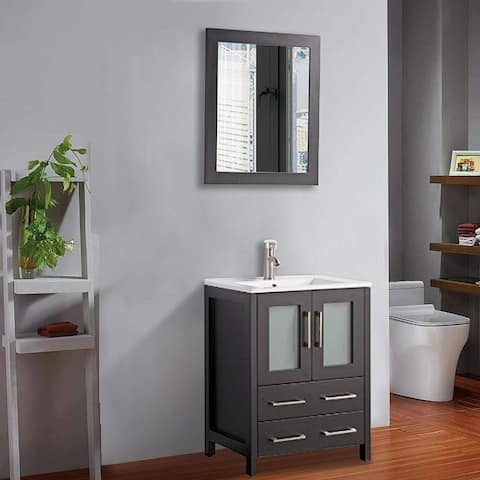 Vanity Art 24-Inch Single Sink Bathroom Vanity Set 2 Drawers, 1 Cabinet, 1 Shelf, Soft-Closing Doors with Free Mirror