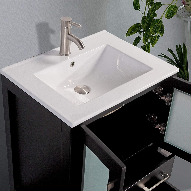 Vanity Art 24 Inch Single Sink Bathroom Vanity Set 2 Drawers 1 Cabinet 1 Shelf Soft Closing Doors With Free Mirror