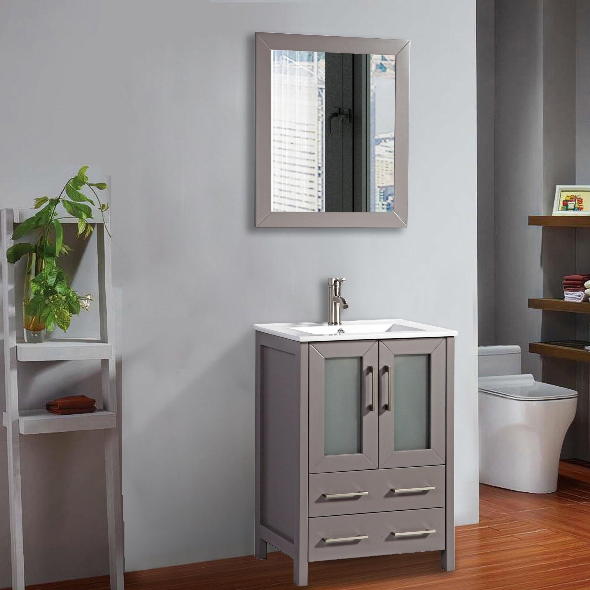 Vanity Art 24 Inch Single Sink Bathroom Set 2 Drawers 1 Cabinet Shelf Soft Closing Doors With Free Mirror