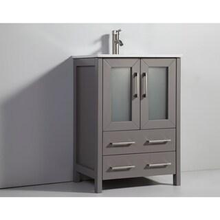 Vanity Art Oak 24-inch Single Sink Ceramic Top Bathroom Vanity Set