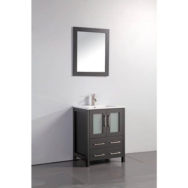Vanity Art Oak 24 Inch Single Sink Ceramic Top Bathroom