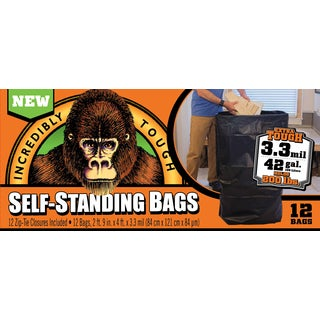 Incredibly Tough Self Standing Bags 1197832 42 Gallon Black Self-Standing Gorilla Bag 12-count
