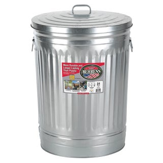 Behrens High Grade Steel 1270 31 Gal Silver Galvanized Steel Trash Can W/Lid