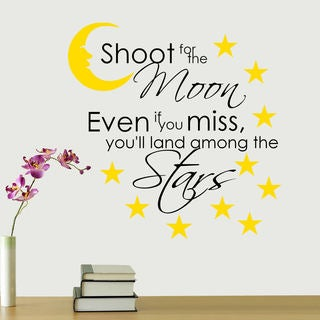 Shoot For The Moon' Multicolored Vinyl Wall Quote Decal