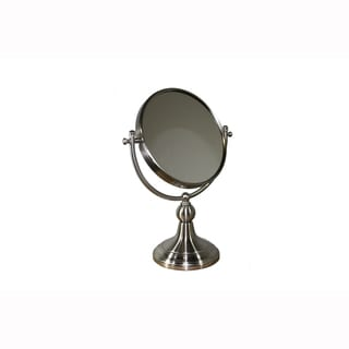 Brushed Silvertone Metal 14-inch Round Free-standing 2-sided Magnifying Mirror