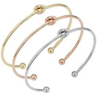 Fremada 14k Gold 2-mm Love Knot Cuff Bangle Bracelet (yellow, white or rose)