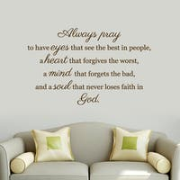 Always Pray' 48 x 30-inch Wall Decal