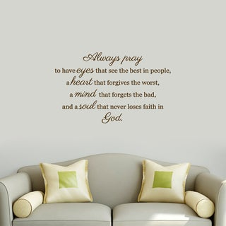 Always Pray' 36-inches Wide x 22-inches High Wall Decal