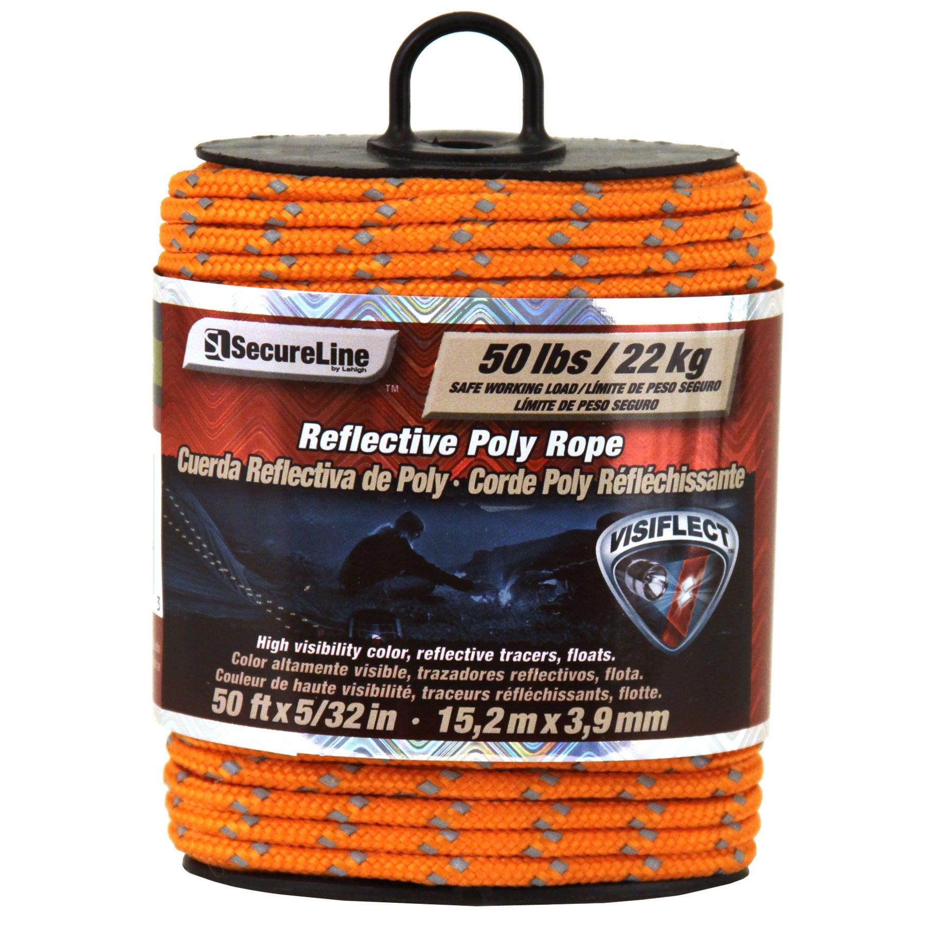 "Secureline RMFPO3250 5/32"" X 50' Orange Reflective Poly R..."