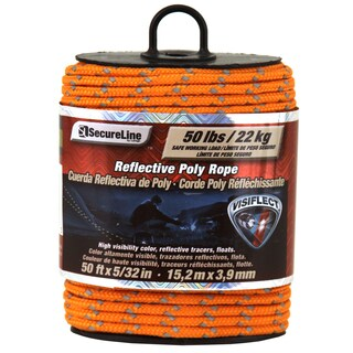 "Secureline RMFPO3250 5/32"" X 50' Orange Reflective Poly Rope"