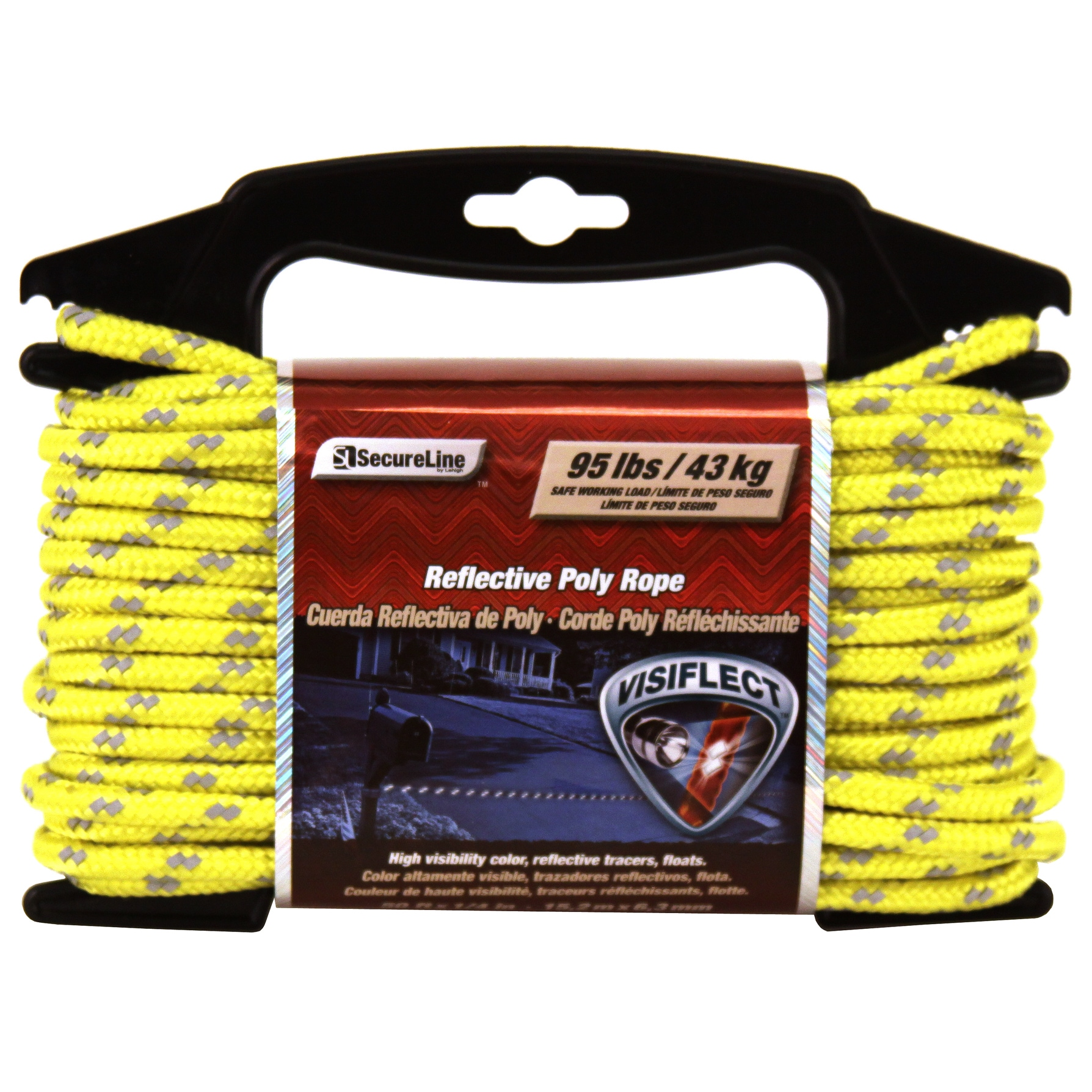 """Secureline RMFPY1450 1/4"""" X 50' Yellow Reflective Poly Ro..."""