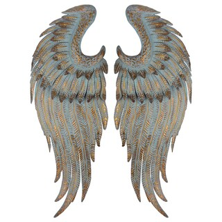 Antique-gold Metal 2-piece Rise Wing Wall Accents