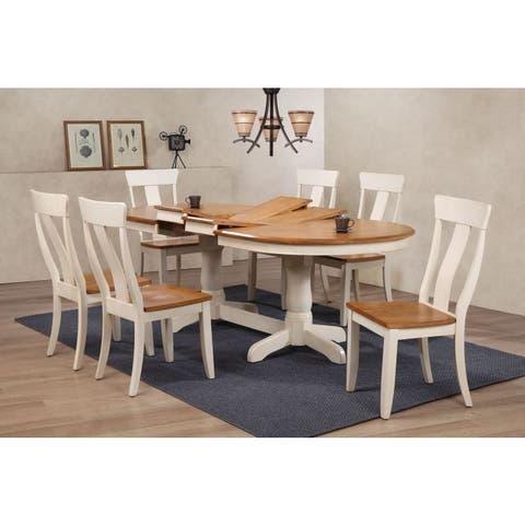 Iconic Furniture Panel Back Caramel Biscotti 42 x 66 x 78 x 90 7-piece Oval Dining Set