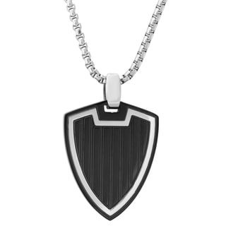Stainless Steel Men's Blackplated Shield Pendant Necklace