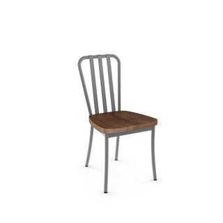 Amisco Bond Metal Chair With Distressed Wood Seat (Set of 2)
