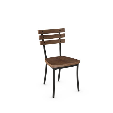 Carbon Loft Montgolfier Metal Chair with Distressed Wood Seat and Backrest (Set of 2)