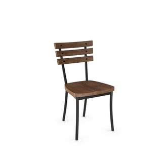 Amisco Dock Metal Chair With Distressed Wood Seat and Backrest (Set of 2)
