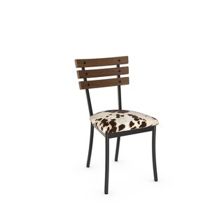 Amisco Lodge Metal Chair With Distressed Wood Backrest (Set of 2)