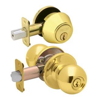 Dexter by Schlage JC60VCNA605 Bright Brass Corona Keyed Entry Knob & Deadbolt Combo