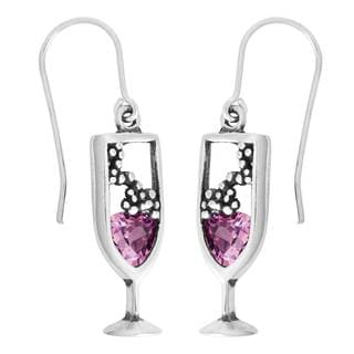 Sterling Silver Cubic Zirconia Pink Champagne Earrings