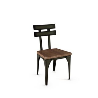 Amisco Rawdon Metal Chair With Distressed Wood Seat (Set of 2)