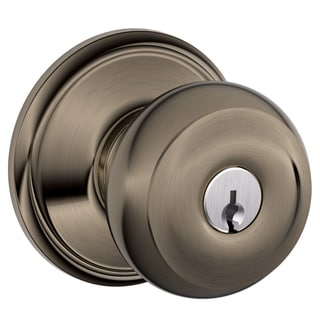 Schlage F51VGEO620 Antique Pewter Georgian Keyed Entry Knob