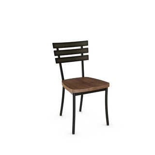 Amisco Stadium Metal Chair With Distressed Wood Seat (Set of 2)