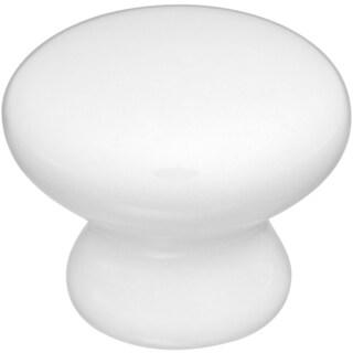 "Home Designs S805283 1.34"" White Round Porcelain Knob"