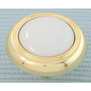 "Ultra Hardware 41433 1-1/2"" Polished Brass & White Traditions Porcelain Knob"