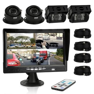 Pyle PLCMTRS77 Rearview Backup Camera & Video Monitor Quad View (4) Commercial Grade Waterproof (Bus, Truck, Trailer, Van)