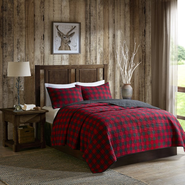 Superbe Woolrich Check Red Cotton Percale Printed Quilt Mini Set