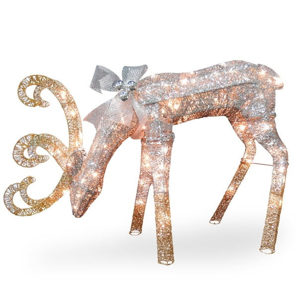 """Shop National Tree Company 28"""" Holiday Christmas Crystal Feeding Reindeer Decoration with Clear Lights - Free Shipping Today - Overstock - 12611310"""