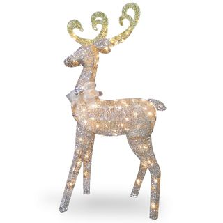Sisal 60-inch Reindeer Decoration With Clear Lights