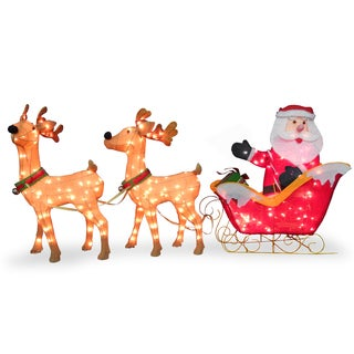34-inches Santa and Reindeer With Clear Lights