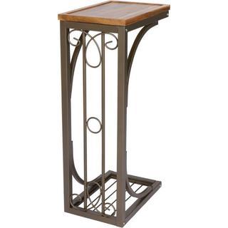 Trademark Innovations Brown Acacia Wood/Metal 2-foot Scroll Design Sofa Side Table