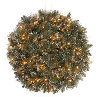 16-inch Glittery Bristle Pine Kissing Ball with Battery-operated Warm White LED Lights