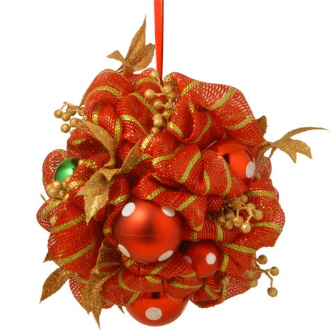 Decorative Collection 16-inch Striped Red Ribbon Kissing Ball