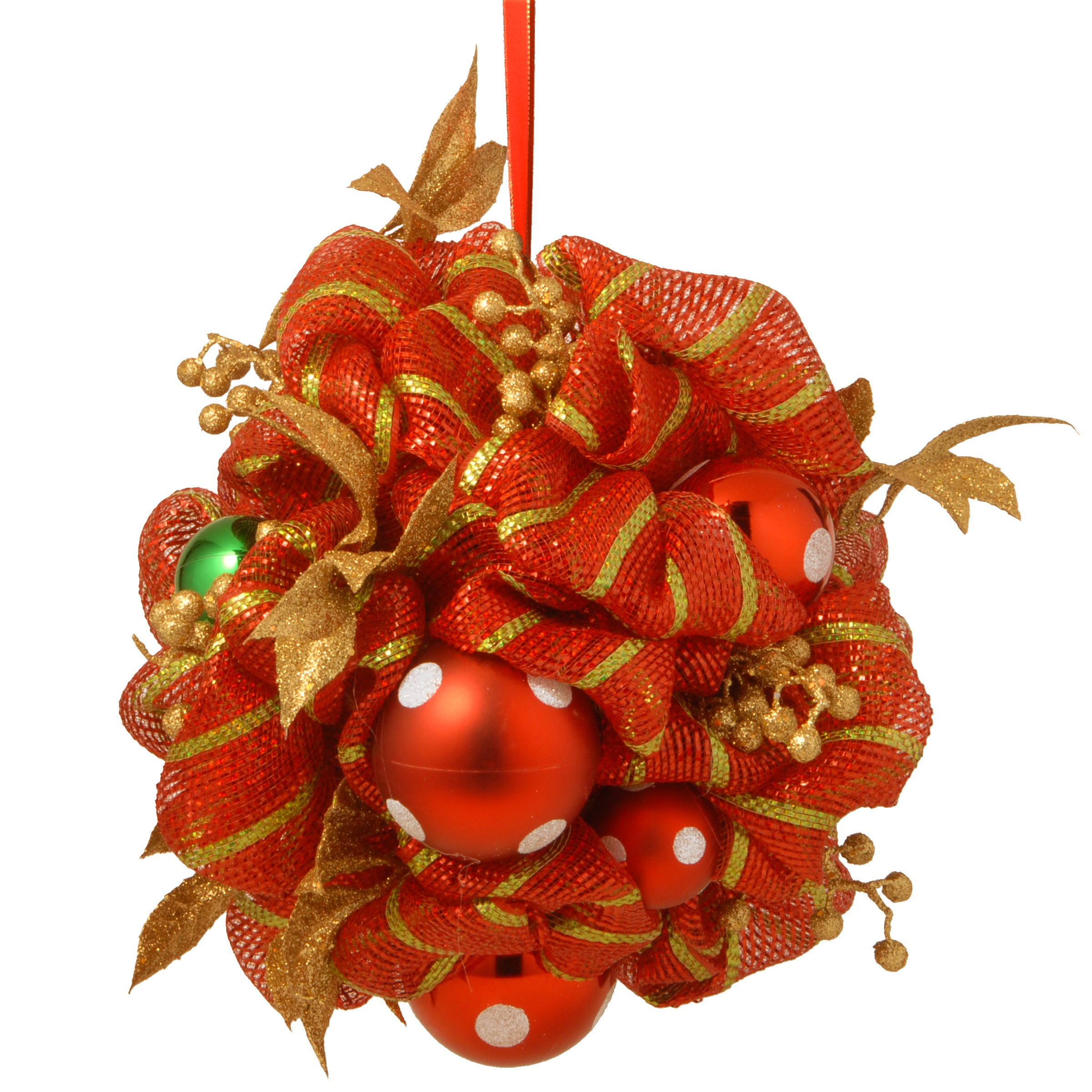 National Tree Decorative Collection 16-inch Striped Red R...