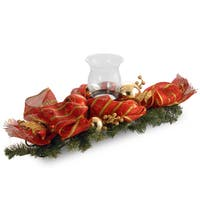 """National Tree Company 30"""" Decorative Collection Striped Red Ribbon Single Candle Holder with Gold Stripes"""